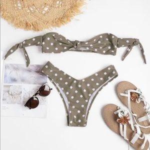 Polka dot off the shoulder bikini